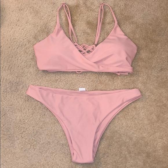 Other - NWOT Baby Pink Crochet Detailing Wrap Bikini